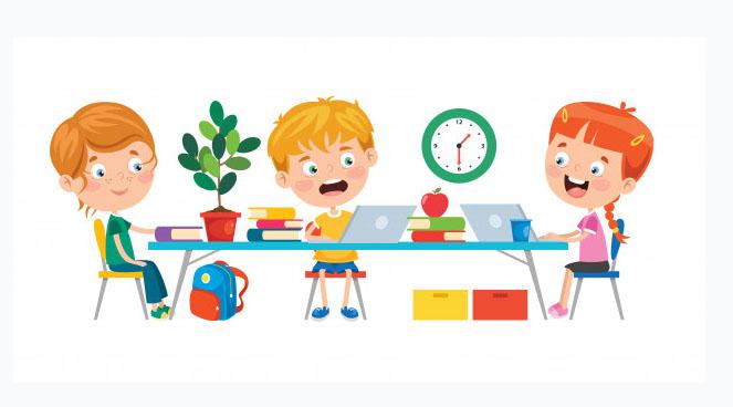 Niños con ordenadores en su casa